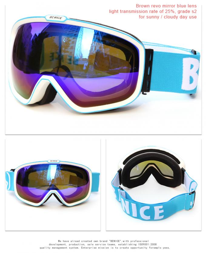 High End Blue Reflective Ski Goggles , Anti Fog Snow Goggles For Cloudy Days