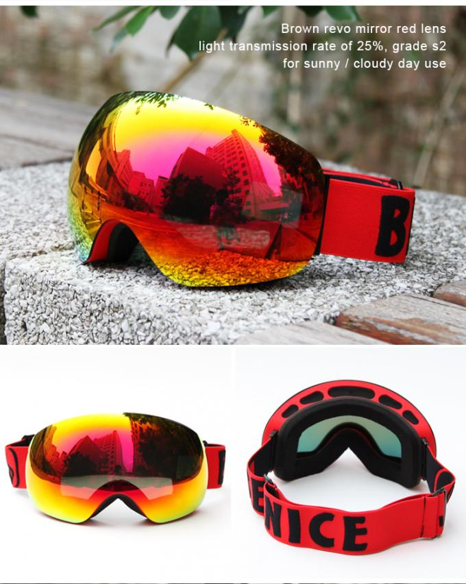 REVO Red Lens Color Ski Snowboard Goggles Elastic Strap For Clear And Clean Vision