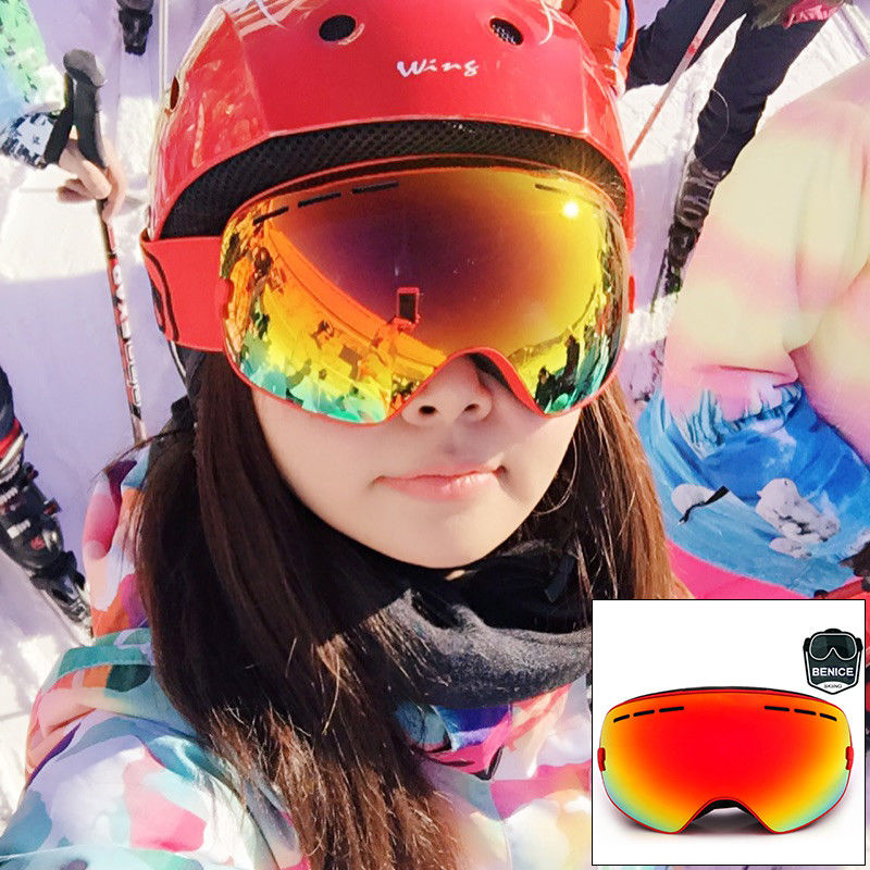 Anti Scratch Waterproof Snow Ski Goggles Double Lens TPU Frame , CE Certificate