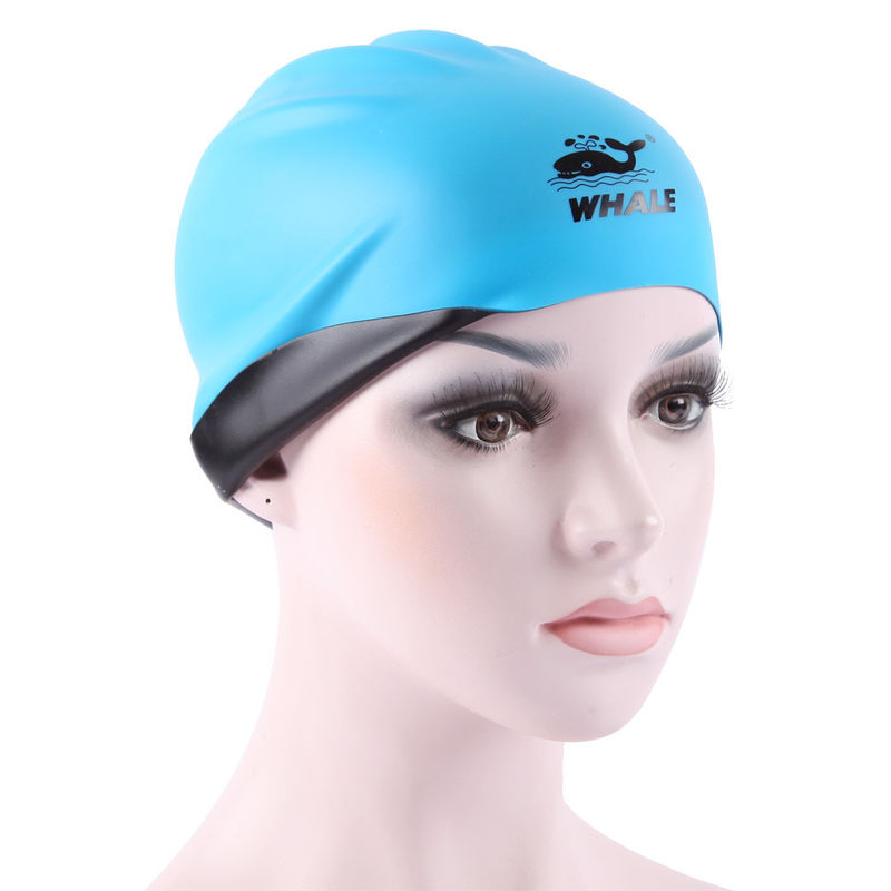Blue Black Premium Silicone Swimming Caps Flexible Environmental Protection