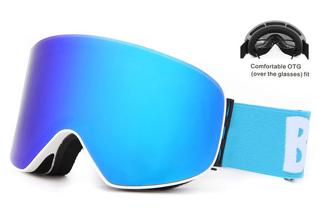 Frameless Mirrored Ski Goggles 100 % UV400 Protection With HD Plating PC Lens